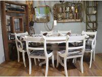 Shabby Chic Italian Dining Table & 6 Chairs White & Silver Grey Velvet