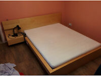 IKEA Malm bed frame + side table + matress - birch veneer