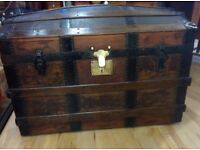 Victorian dome topped wooden trunk chest box with leather handles brass lock