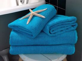 16 Turquoise Thick Handwoven Cotton Towels - 75cm x 50cm New
