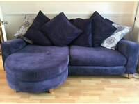 Dfs sofa chaise blue / purple great condition