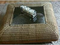 Coffee table (rattan base, glass top)