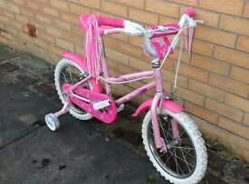 Girls Pink Bicycle with stabilisers - Age 5-7