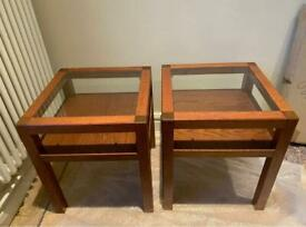 Pair of glass top wooden bedside/side tables