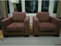 Pair of light brown modern armchairs