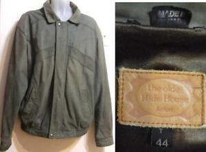 Mens Leather Bomber Jacket - Large,Tall - Sage Green Oakville Large Made in Canada Green Retro 44 Tall LT Heavy