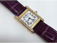 LADIES CARTIER TANK FRANCAISE 60033 18K SOLID GOLD DIAMOND SET MANUAL WIND WATCH