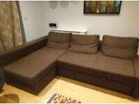 Corner Sofa-Bed Brown colour with Storage - IKEA Farihiten. good condition Stain-free