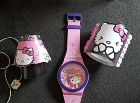 Hello Kitty bedroom lamp, clock & lightshade
