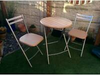 Folding table and chairs set wood and metal