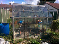 8 x 6 Aluminum GreenHouse with nearly all glass intact comes with staging