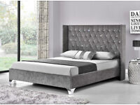 NEW Double/King Chenille Fabric bed - Silver