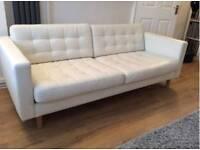 IKEA 3 seater leather white sofa