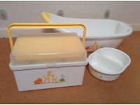 Mothercare Jungle Friends Baby bath, top and tail bowl, and storage box