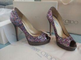 Jimmy Choo sparkling glitter high heel shoes - Size 6 - Coarse Glitter Fabric Multi Colour -RRP £455