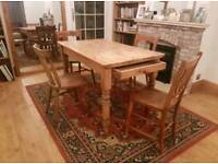 Antique french dining table with drawer + chairs