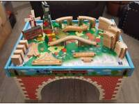 Thomas and friends wooden train table with track - includes wooden cranky & knapford station