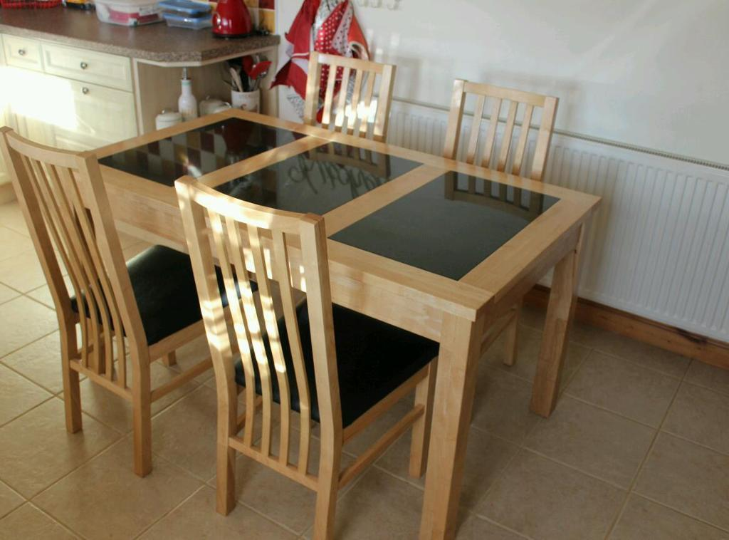 Beech Veneer With Granite Inlay Dining Table 4 X Chairs