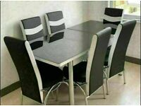 💥💥BRAND NEW STYLISH EXTENDABLE GLASS DINING TABLE SET WITH 4 OR SIX FAUX LEATHER CHAIRS🌈