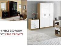 Brand New Luxury 4-Piece High Gloss Bedroom Set 3 door wardrobe Bedside cabinet Drawer Oak White