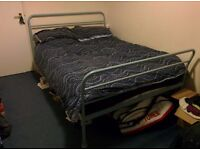 Double metal bed frame and mattress for sale