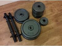 Cast iron weightlifting set (27kg plates + barbell +dumbbells)