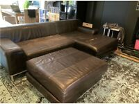 3 Piece Ikea Brown Leather Sofa - COLLECTION ONLY