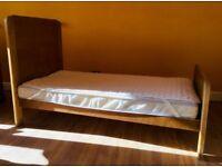 John Lewis Solid Oak Children's Bed + Mattress + Topper RRP £200 *NEW*