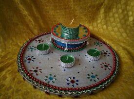 Engagement Ring Holder Mehndi Henna Plate Thaal