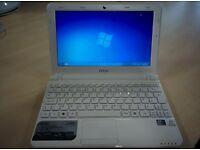 MSI U180 Netbook - Excellent quality - Windows 7 fresh install