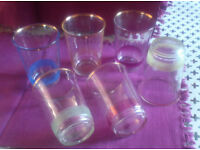 Retro-vintage French glasses with coloured frosted & gold rim x 6 (ref COLGLASS)