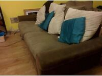 Grey 3 seater sofa and swival love chair