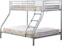 NEW strong silver or black metal triple bunk beds 3ft single & a 4ft6 double available today