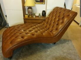Luxury Brown Real Leather Chesterfield Chase Lounge RRP £2,199