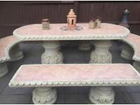 Terracotta garden table and benches