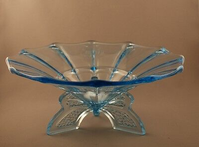 Fabulous Vintage Deco Czech Glass Light Blue Rocket Footed Bowl c.1930