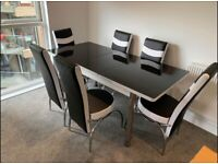 🚚🔥BRAND NEW DESIGNER STYLE EXTENDABLE DINING TABLE WITH 4 OR 6 FAUX LEATHER CHAIRS 🔥