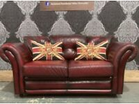 Stunning Chesterfield 2 Seater Low Back Sofa in Oxblood Red Leather - Uk Delivery