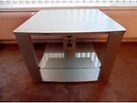 Silver TV Stand With Glass Shelf ~ Would Also suit Corner 69cm x 48cm