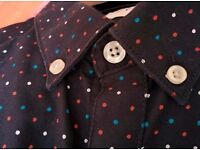 Nearly new Farah Men's slim fit shirt, size small. Navy with polka dots. £15 or best offer