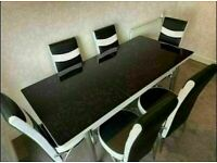 BRAND NEW EXTENDING GLASS DINING TABLE SETS WITH FAUX LEATHER CHAIR OPTIONS