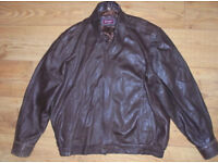 Futura Natural Real Leather Jacket Dark Brown Zip Up size XL