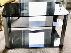 TV/Stereo stand. Superb 3 grey glass shelves/Alloy sides.