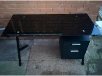 Black Glass Computer Desk with A4 Suspension File Drawer