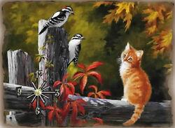 Bird and Cat Lovers Woodpecker  wall clock Handmade