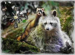 Ferret and Racoon Wall Clock  Makes Great Gifts