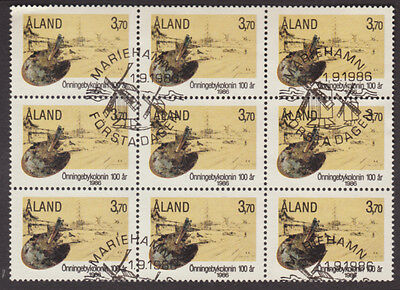 Aland 1986 Onnigeby Artists Colony Blk of 9, VFU with 1st Day Cancels