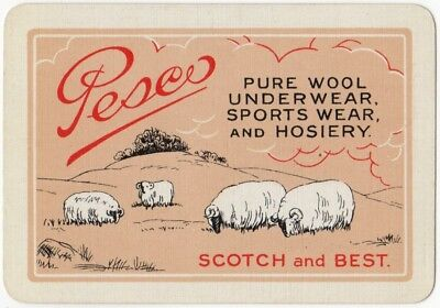 Playing Cards 1 Single Swap Card - Old Vintage Wide Advertising PESCO WOOL Sheep