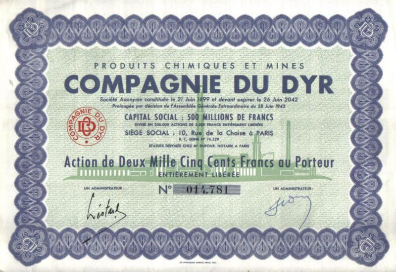 Africa Algeria France bond 1943 Chemical & Mines of DYR 2500fr Uncancelled coup