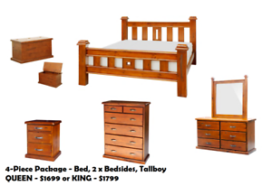BRAND NEW Queen Size Chunky Timber Bed Frame FREE DELIVERY